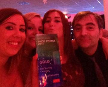 The PR team from public relations agency Holyrood Partnership with a 2012 PR Award for best sporting PR campaign