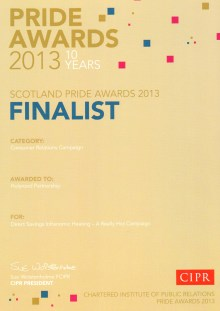 In 2013 PR agency Holyrood PArtnership was a finalist at the CIPR PRIDE AWARDs in the CONSUMER RELATIONS CAMPAIGN category, fow work with energy efficiency specialists DIRECT SAVINGS for their INFRANOMIC HEATING system