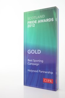 PR award for Holyrood PR - PRide Awards 2012 Best Sporting PR Campaign