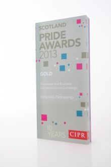 Public relations agency Holyrood PR collected gold PR Awards for Corporate and business Communications in 2013