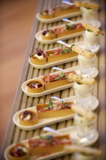 Some of the mouthwatering canapes being handed around