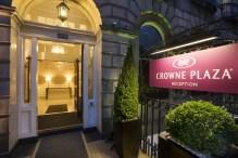 Entrance of Crowne Plaza hotel in Edinburgh, Scotland captured in hotel PR photography