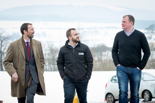Colin Anderson and Gordon Thompson with Ewan Turner of Drumclog Plant Ltd,