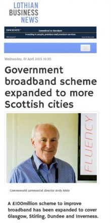 PR agency in Edinburgh secure media coverage for IT client commsworld