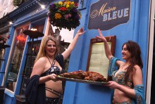 Belly dancers at Maison Bleue's Post-Refurb Event, present the restaurant's latest menu addition, the Bedouin Feast.