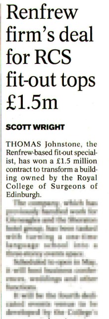 PR success for Surgeons Hall also extended to supplier Thomas Johnstone Ltd