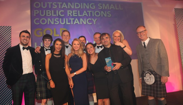 2015 Team on Stage for Outstanding PR Agency Award