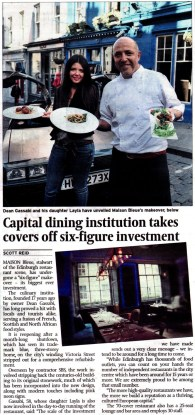Coverage of food and drink pr story in the Scotsman