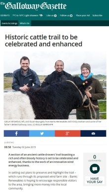 Edinburgh PR Agency helps Banks Group attract tourists to ancient cattle trail in Dumfries and Galloway.