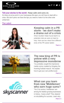 Public relations newsletter froom Holyrood PR in Scotland