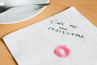 Kiss on a napkin with flirty message