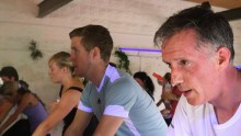 PR experts with Holyrood PR join a spinning class
