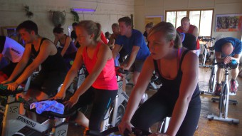 Holyrood PR staff learn how to spin - at a cycling exercise class