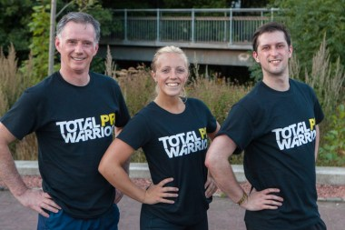 Scott, Katie and Craig proudly sport their customised Holyrood PR t-shirts for Total Warrior