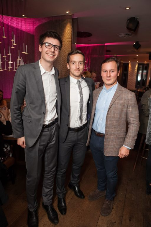 Hotel PR photograph of Patrick Lallemand, Maxime Magnus and Pierre Darquey in Tigerlily, Edinburgh