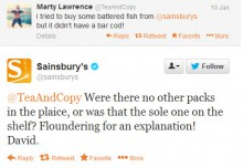 A Twitter conversation with fish puns between Sainsbury's and a customer