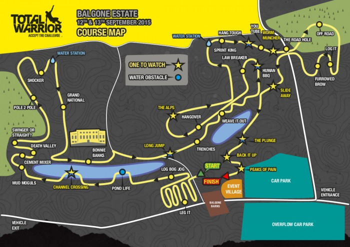 The map of the course of the first Total Warrior event in Scotland, at Balgone Estate, East Lothian