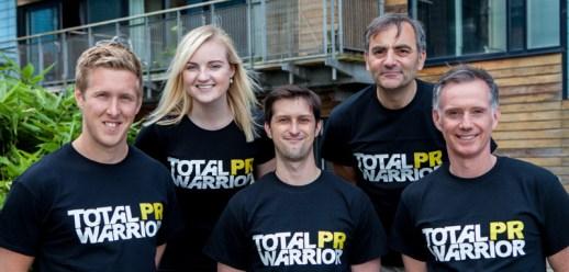 Back row, Xantha Leatham and Raymond Notarangelo. Front row Chris Fairbairn, Craig Sinclair and Scott Douglas. The Holyrood PR team sport customised T-shirts for the Total Warrior event.