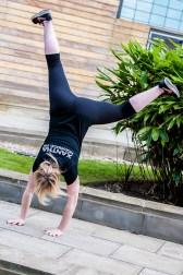 Athletic Xantha Leatham pulls off a perfect cartwheel