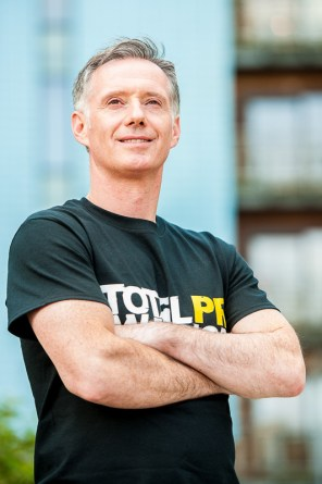 Scott Douglas of Holyrood PR prepares for the Total Warrior event