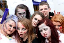 PR photos of zombies, used to illustrate Hallowe'en article