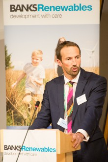 Connect2Renewables. Onshore wind farm event in Scottish Parliament. IN PIC................. Colin Anderson, Director, Banks Renewables speaking the event in the Burns Room at Holyrood on Tuesday night. (c) Wullie Marr/HPR For pic details, contact Wullie Marr........... 07989359845