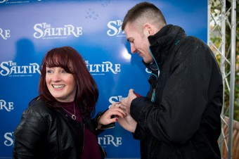 A couple were engaged at Musselburgh Racecourse after a surprise marriage proposal