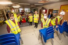 Property PR photos of school pupils learning aobut construction site safety