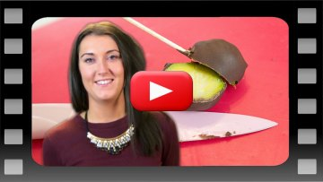 Presenter with chocolate coated brussels sprout for Holyrood PR TV episode 186 - PR video for business