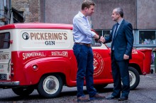 Kevin Durnian of Thames water meets with new customer, Marcus Pickering, of Pickering's Gin in their Summerhall distillery, in Edinburgh.