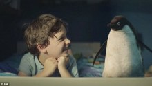 Image from John Lewis Christmas TV advert about a boy and a penguin