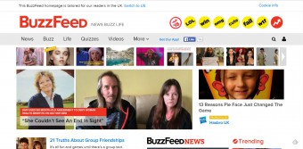 The home page of online news site, Buzzfeed