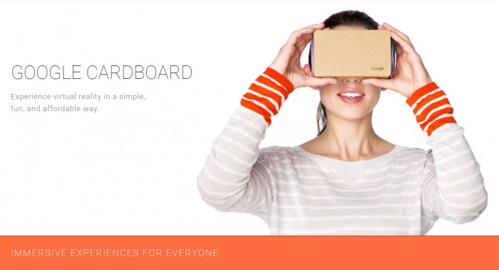 Google cardboard - woman using headset