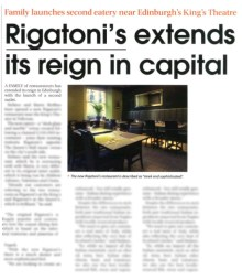 Succesful food and drink PR campaign for Rigatoni's restaurant