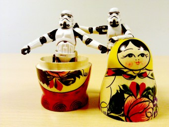 A stormtrooper inside a Russian doll
