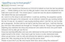 Screengrab of negative review, for crisis pr blog post