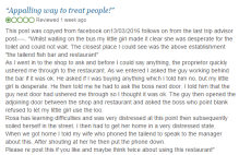 Screengrab of negative review, for crisis pr blog post