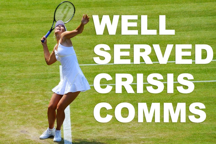 "Justin Smith image of Sharapova with text over, ""Well served crisis comm"""