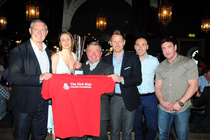 The Sick Kids Friends Foundation Sports Quiz night  Events Date: 21 Apr 2016 Event type: Fundraising quiz night Location: The Ghillie Dhu,  Edinburgh,  L/r Gavin Hastings, Sarah Clarke,Frank Cusack ,Michael Stewart, Scott Brown & Alex  Arthur Pic Eric McCowat