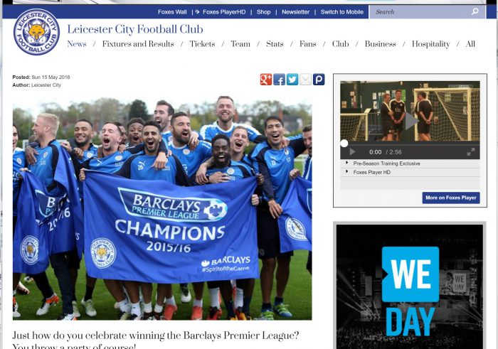 The website of Leicester City FC, Premier League Champions