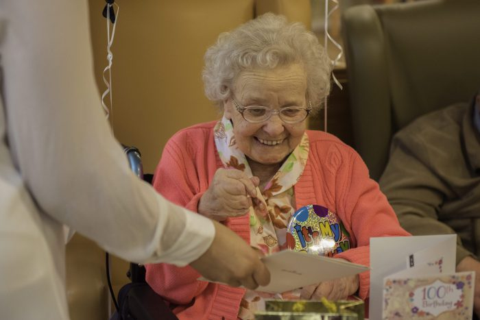 Bupa care home hold celebration for Ruby Mathieson's 100th birthday