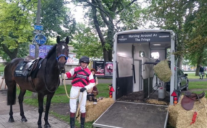 Musselburgh Racecourse PR stunt at the Meadows for Edinburgh Fringe