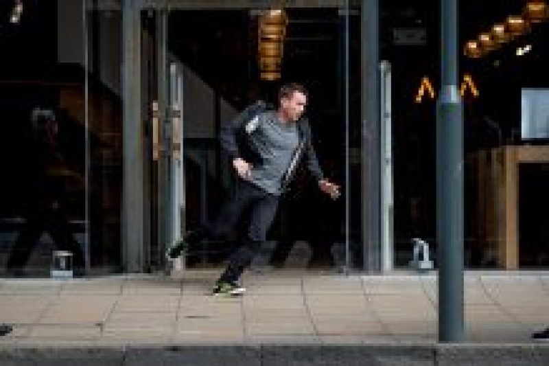 Ewan McGregor resurrects his character of Renton in the new Trainspotting film, photographed during filming a reconstruction of the iconic opening scene of the original film, in Princes Street, Edinburgh