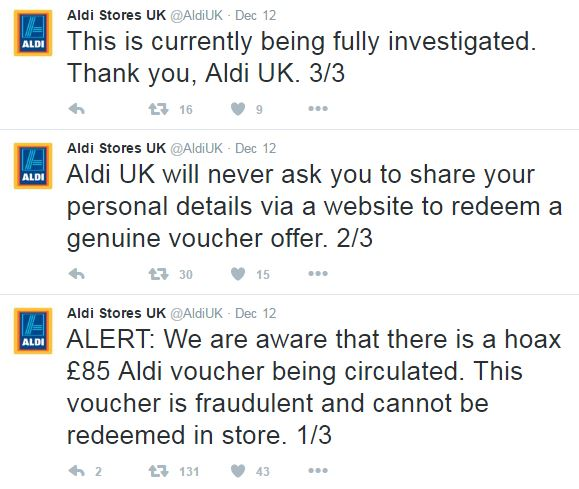 Aldi Warning Screengrab