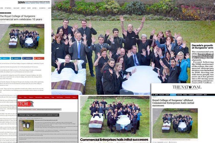 Media coverage RCSEd commercial enterprises PR agency in Scotland