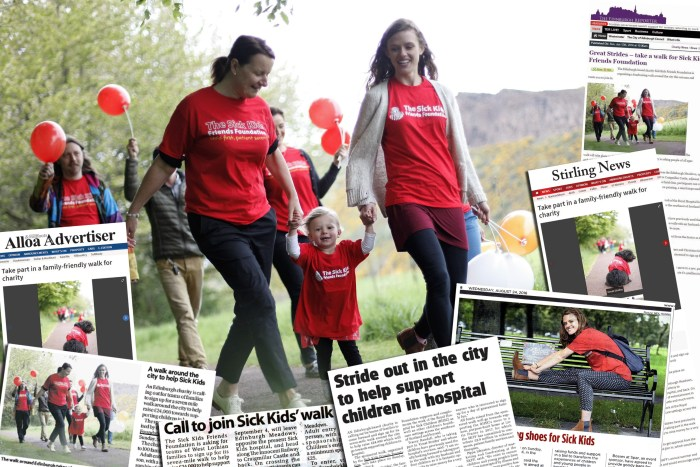 skff great strides coverage by an Edinburgh PR Agency