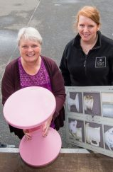 PR Photos of Claire McLoughlin, Marketing Assistant at CALA Homes (East) and Lynne McNicoll Director of Charity It's Good to Give carrying furniture.