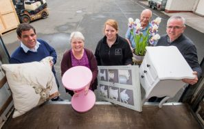 PR Photos of Claire McLoughlin, Marketing Assistant at CALA Homes (East), Lynne McNicoll, Ian McNicoll Directors of Charity It's Good to Give, Keith Robertson director at Fresh Start and Stewart Ferguson Operations Manager at Fresh Start place their donations into the lorry.