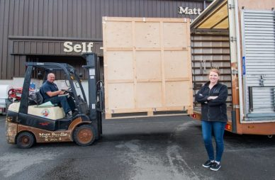 PR Photos of Claire McLoughlin, Marketing Assistant at CALA Homes (East) and Archie Purdie director of Purdie Worldwide Removals and Storage help load up items from their showhomes which they are donating to a flat connected to the Royal Hospital which will be used for families wanting to stay near by and visit patients.