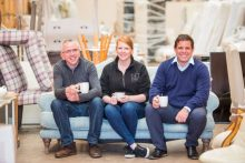 PR Photos of Claire McLoughlin, Marketing Assistant at CALA Homes (East), Keih Robertson Director at Fresh Start and Stewart Ferguson Operations Manager at Fresh Start enjoy a cup of tea together,